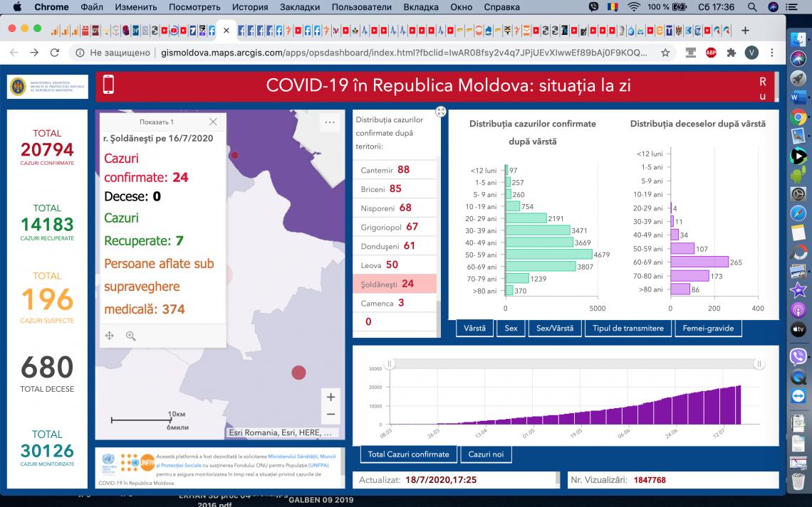 COVID 19: bilanț în creștere, la Șoldănești deja 24 testați pozitiv