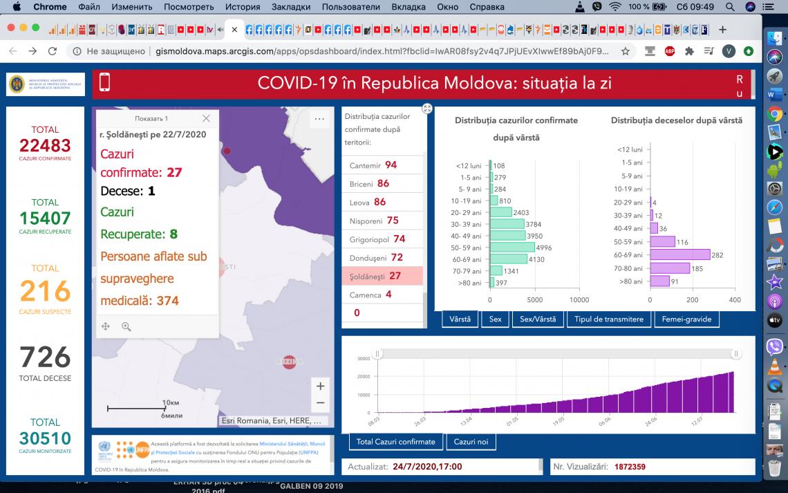 Plus 345 de cazuri noi de COVID-19 azi, 25.07.2020