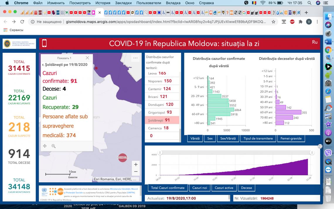 Încă 2 cazuri de infectare cu virusul COVID-19 au fost confirmate în raionul Șoldănești